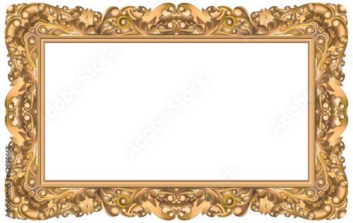 Cadre rococo rectangulaire or fichier vectoriel libre de - Cadre photo rectangulaire long ...