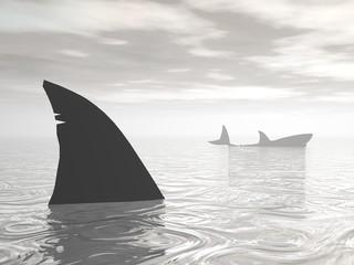 Sharks in the ocean - 3D render