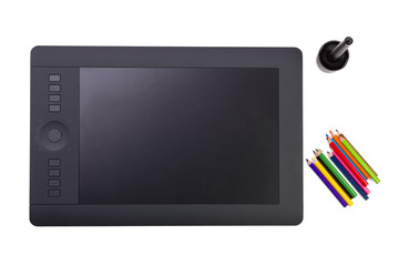 Graphic Tablet and Colorful Pencils on White Background
