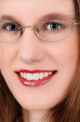 Closeup of woman's face.