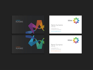 Business card with abstract colorful element.