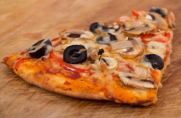 mushroom and olive pizza slice