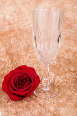 rose with a glass on a vintage background