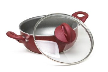red cooking pan with transparent cover