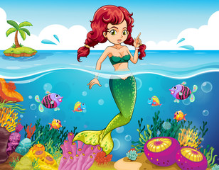 A sea with a mermaid
