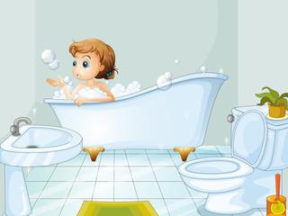 A young woman taking a bath in the bathtub