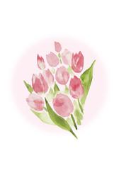 ピンクのチューリップの花束