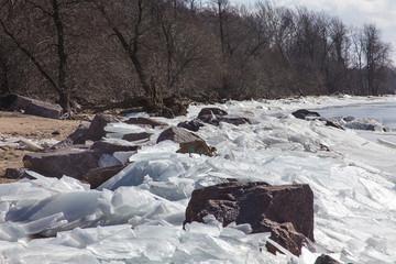 Coast spring with melting ice