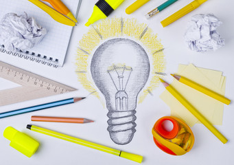 Light bulb drawing, inspiration concept