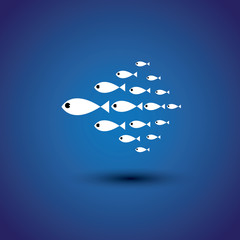 colorful school of fishes - leader & leadership vector graphic
