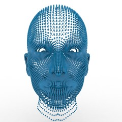 Portrait of futuristic 3d female model on white background