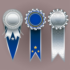 Vector champion medals. Set of silver, gold and blue badges with