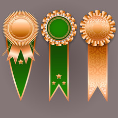 Vector champion medals. Set of bronze and green badges with ribb