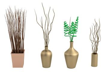 realistic 3d render of vases