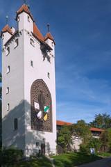 Fototapete - Allgäu, Kaufbeuren, Fünfknopfturm, Stadtmauer