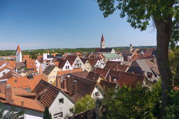 Fotomurales - Allgäu, Kaufbeuren, Stadtpanorama von St. Blasius mit Stadtpfar