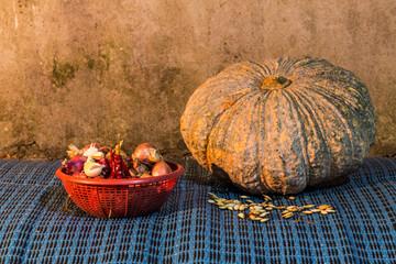Still Life - pumpkin, dried chilli, shallots, and garlic  And Pu