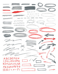 Set of hand drawn correction elements.
