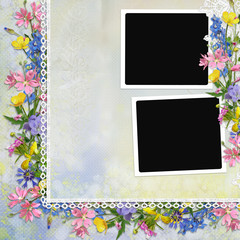 Border of flowers, lace with frames on vintage background