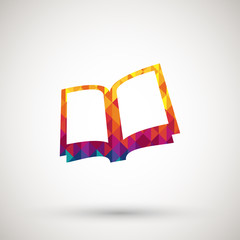 reading book icon with colorful diamond
