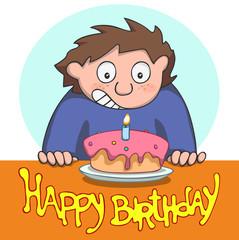 Happy birthday. Happy boy with birthday cake.