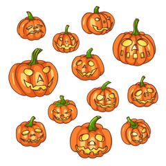 Set of halloween pumpkins.