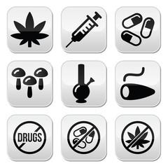 Drugs, addiction, marijuana, syringe buttons set