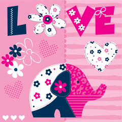 cute patchwork elephant pattern vector illustration