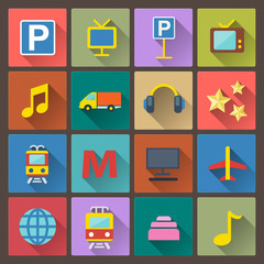 set of transport and entertainment icons in flat design style