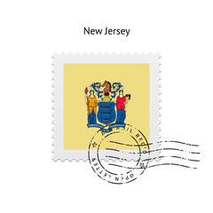 State of New Jersey flag postage stamp.