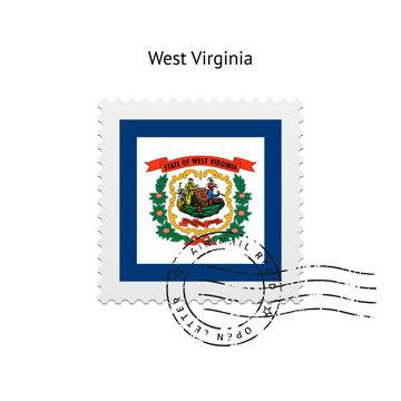 State of West Virginia flag postage stamp.