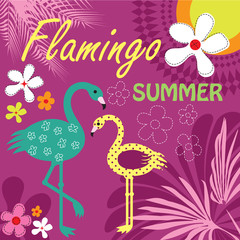 flamingo paradise summer vector illustration