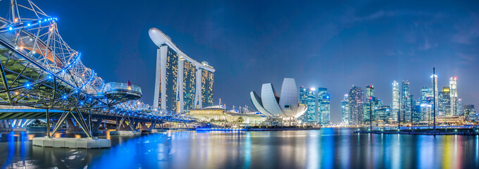 Aluminium Prints Asian Famous Place Singapore city at night