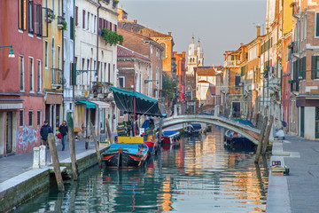 Venice - Fondamenta Giardini street and canal.