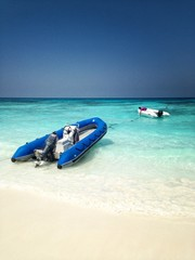 Inflatable boat on the tropical island, Tachai island, Thailand