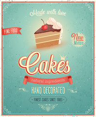 Wall Mural - Vintage Cakes Poster.