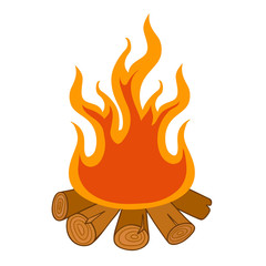 illustration of isolated camp fire on white background