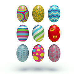 Set of vertical colorful Easter eggs.