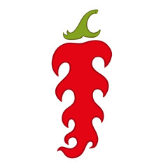 Vector illustration of red hot pepper with flames