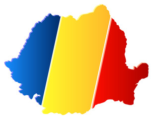 3D Romania Map With Flag Vector Illustration
