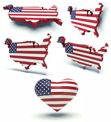 Set of maps of the USA and heart with flag colors.