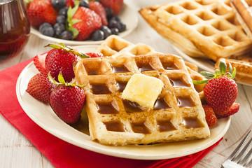 Homemade Belgian Waffles with Fruit