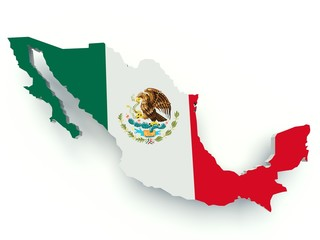 Map of Mexico with flag colors. 3d render