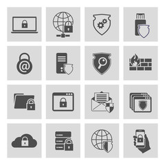 Information technology security icons set