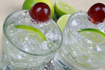 Drink with lime, grape and ice