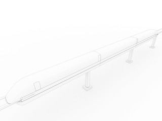 White 3d drawing of a train #3