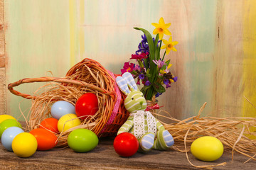 Happy Easter Bunny Painted Eggs Wicker Basket
