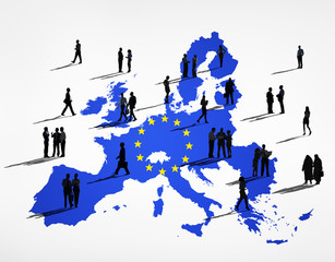 Silhouettes of Business People Blue Cartography Of The EU