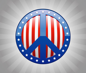 Peace Sign American Flag Symbol Illustration