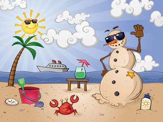 Sand Snowman Cartoon Character on a Tropical Vacation